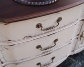 Antiqued French Country Bathroom Vanity Cabinet in French Cream with Dark Walnut top - Artisan8