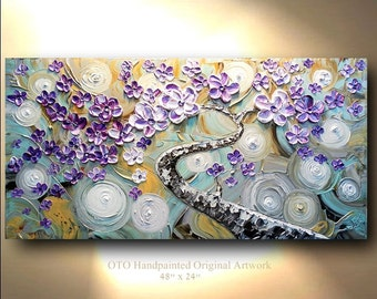 Textured Abstract Original Painting 24x48 Blue Purple Silver Art painting tree flower Large Modern Contemporary by OTO