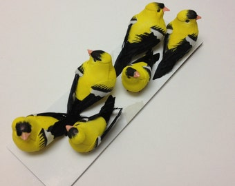 Artificial Birds - SIX Decorative Yellow Birds - Craft Embellishment - Home Decor, Christmas Decorations