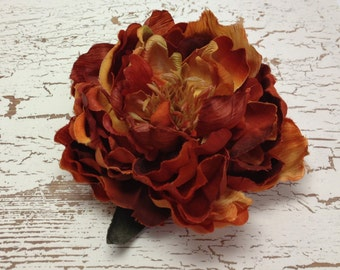 Silk Flowers - One Large Boutique Quality Peony in Shades of Rust and Orange - 6 Inches - Artificial Flower