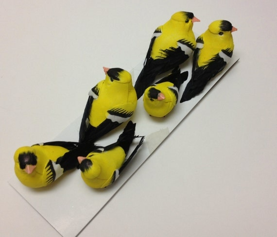 Artificial birds six decorative yellow birds craft for Artificial birds for decoration