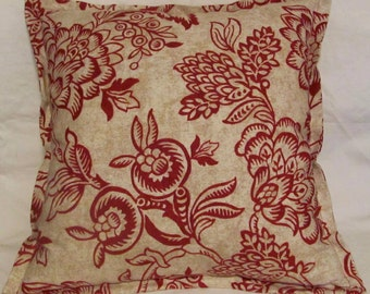 French Country Romantic Cottage Pillow Red Beige Floral Provence Provencal Cushion Decorator