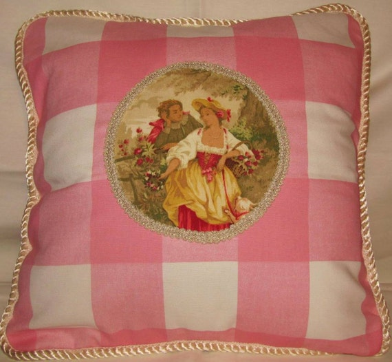 Shabby Country French Chic Cottage Pillow Pink Romantic Fragonard Toile Buffalo Check