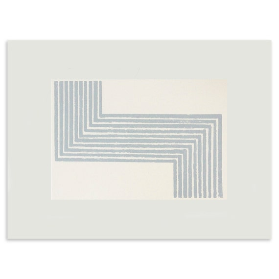 small  geometric handmade blue/grey and cream, striped simple abstract screenprint on finest quality paper