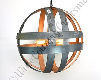 Double Ring Chandelier - ATOM - Cyclopean - Wine Barrel Globe Light  -  100% RECYCLED