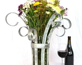 Centre - Wine Barrel Ring Flower Centerpiece // Tabletop Flower Holder // Wedding table