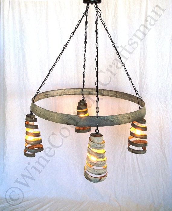 Funky Rustic Galvanized Pendant Light Via Etsy: BAJAN Celestial Wine Barrel Ring By Winecountrycraftsman