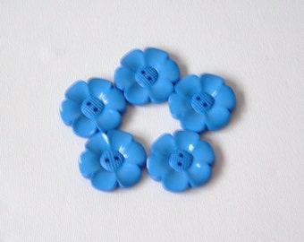 SALE Lot of 5 Flower Buttons - 40mm-  Blue WAS 5.00 NOW 4.00