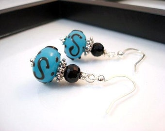 Blue and Black Earrings, Blue Lampwork Earrings, Antique Silver Earrings, Lampwork Earrings, Blue Earrings, Gift for Her, Blue Drop Earrings
