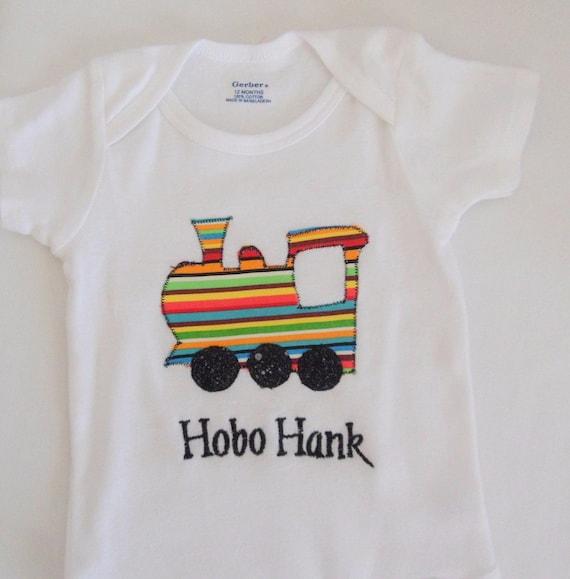 Custom Onesie, Baby Boy Bodysuit, Train Applique