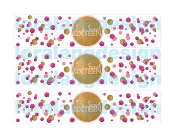 DIY Printable Modern Gold and Pink Sweet Sixteen Water Bottle Labels Instant Download