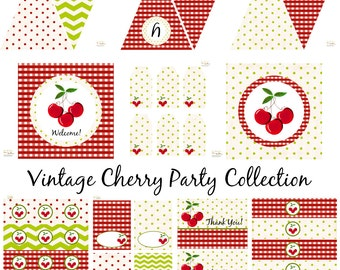 Vintage Cherry Birthday, Cherry Baby Shower, Cherry Birthday Decorations, Cherry Baby Shower Decorations, Cherry Party Decorations