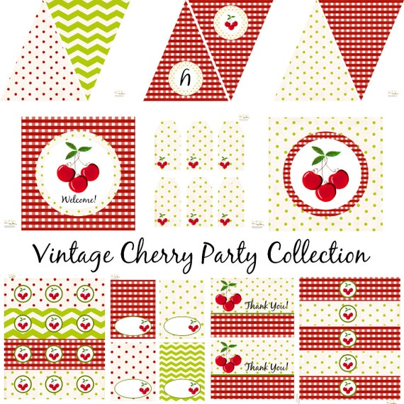 Vintage Cherry Birthday Cherry Baby Shower Cherry Birthday