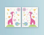 Nursery wall art Decor, Children Art print, play room art, Alphabet, numbers, set of 2 11x14, yellow giraffe, orange, green, pink, blue