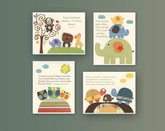 Kids Wall Art Nursery Decor // Baby Boy Room Art // Set of 4 8x10 // Nursery Wall Art Decor // Yellow blue green // Elephant, baby turtle