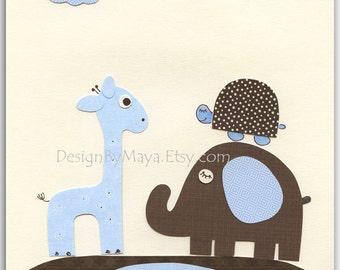 Baby boy room, Nursery print, Baby Giraffe...Friends..Match to the colors of Jake, baby room decor, kids art, children art, Bedding Set