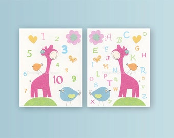 Nursery wall art Decor, Children Art print, play room art, Alphabet, numbers, set of prints, pink giraffe, nursery decor wall art, baby girl