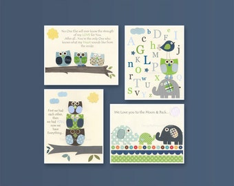 Baby boy Room Decor, Nursery Art baby owl, match the colors of dwell studio owls, promise me, no one else, gray, green and blue