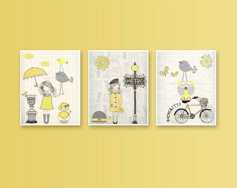 Nursery wall art print, Baby room decor, Baby girl, Paris Metro ...set of 3 11x14 shabby chic, vintage style nursery...YELLOW AND GRAY