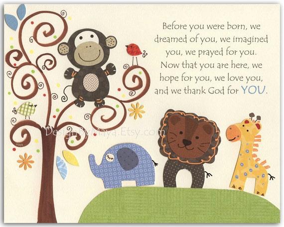Safari animal decor, Kids Decor, Kids Wall Art, Baby Room Decor, Nursery Art, Giraffe Lion Monkey, Before You Were, Noah, baby room decor