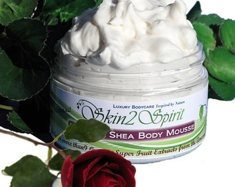 SUMMER ROSES Whipped Shea Body Butter / Mousse -  Organic - Truly All Natural - Real Rose - NO Synthetic Fragrances