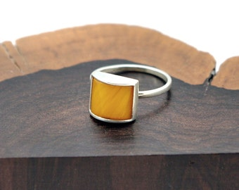 Milky Baltic Amber and Sterling Silver Ring