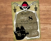 Pirate Ship Treasure Map Skeleton Party Invitation