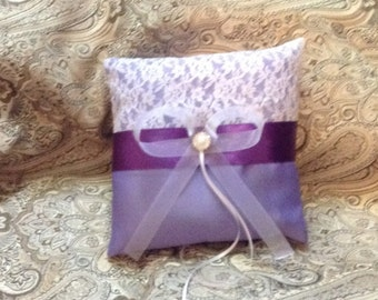 ring bearer pillow  purple, lavender and white or ivory