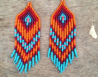 Chevron native style turquoise dangly beaded earrings