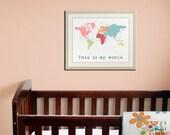 World Map Childrens art. Kids wall art for children. Baby nursery decor. Kids playroom art, childrens prints. Map nursery print by WallFry