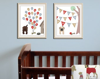 Baby nursery art print. Dog abc nursery decor. Alphabet print, abc print, number print childrens art. SET OF 2 prints by WallFry