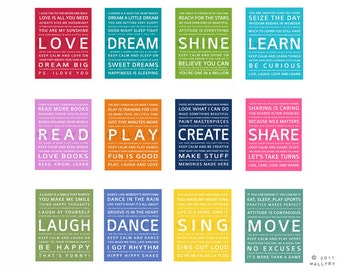 Inspirational Quotes Wall Art typography art prints for kids playroom art. kids wall art.