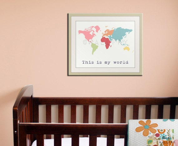 World Map Childrens art. Kids wall art for children. Baby nursery decor. Kids playroom art, childrens prints. Map nursery print by WallFry