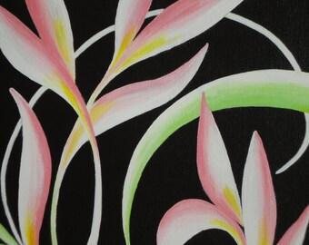 "8"" x 10"" Fine Art Giclee Print:  Floral Swirl on Black"