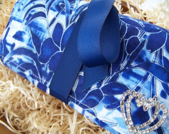 """Full Sized Jewelry Roll-Up Travel Clutch in Beautiful Blues by """"Harmony"""""""
