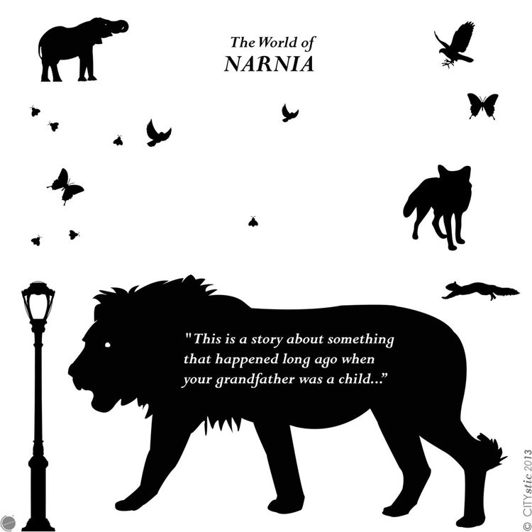 Narnia Wall Decal Aslan Lion With Lamp Post And By Citystic