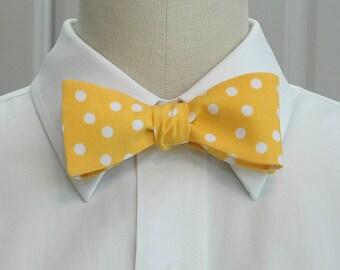 Men's Bow Tie in mango sorbet with white polka dots (self-tie)