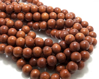 Bayong Wood, 12mm, Natural Wood Beads, Round, Smooth, Large, Full 16 Inch Strand, 36pcs - ID 1378