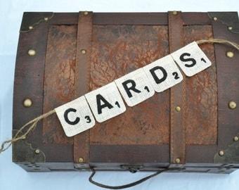 Scrabble Banner   ..   Cards Banner  ..  Card Sign  ..  wedding card box