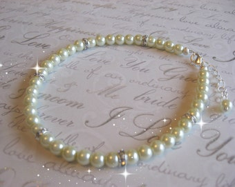 Swarovski Rhinestone and Pearl Bride or Bridesmaid Wedding Anklet -Bridal Pearl Anklet