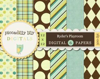 Instant Download - Ryder's Playroom -- 12x12 Digital Scrapbook Printable Paper Pack -- Buy 3 Digital Paper Packs Get 1 FREE