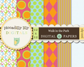 Instant Download - Walk in the Park -- 12x12 Digital Printable Paper Pack - Buy 3 Digital Paper Packs Get 1 FREE