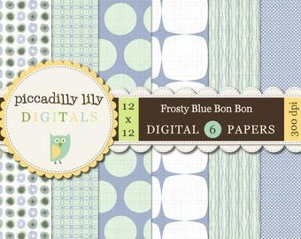Instant Download - Frosty Blue Bon-Bon -- 12x12 Digital Printable Paper Pack Periwinkle Mint-- Buy 3 Digital Paper Packs Get 1 FREE