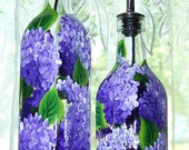 Oil / Vinegar  Bottle with Hand Painted Lilacs Small