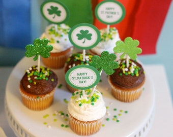 Immediate Download-Happy St. Patrick's Day Cupcakes - Printable PDF
