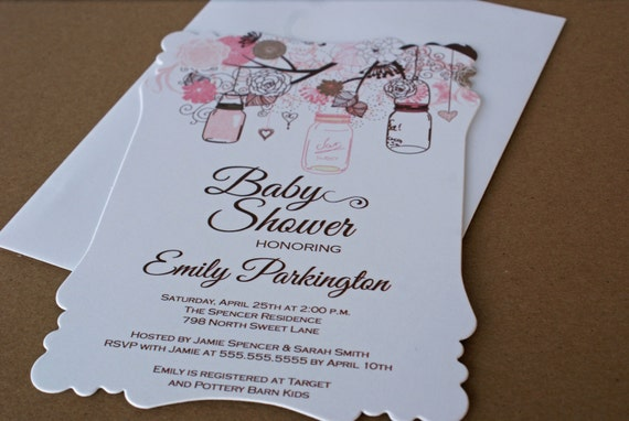 printed floral mason jar girl baby shower invitations digital