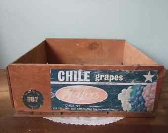 Vintage Wooden Chile Grape Crate Rustic Organization