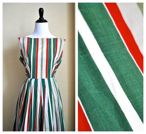 50% off - use code  Summer Dress 50s Candy Cane Stripe Dress - Small Cotton Handmade 1950s Spring Dress Full Skirt