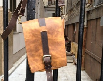 Staton Shoulder Bag / Vintage Leather Messenger / Crossbody Bag / Handmade Leather Bags / Custom Leather iPad Bag / Handstitched Messengers