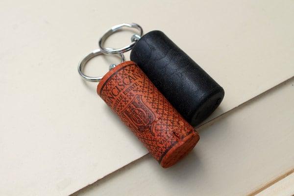 orange black wine cork key chains colored cork by thewoodenbee. Black Bedroom Furniture Sets. Home Design Ideas